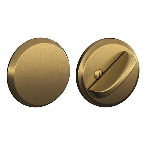 Thumbturn Antique - Schlage B81 Single Sided Residential Deadbolt with Thumbturn and Outside Trim Pl, Antique Brass