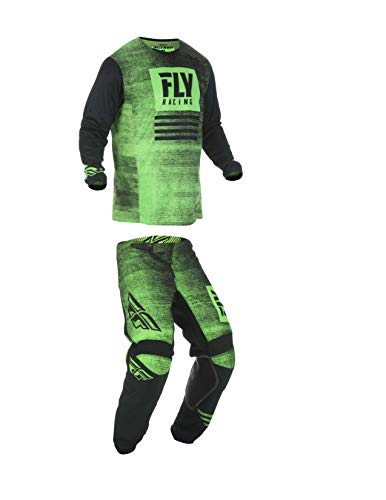 Kinetic Youth Pants - Fly Racing Youth Kinetic Noiz Motocross Pants/Jersey Set Neon Green/Black (26W Pants/Youth Large Jersey)