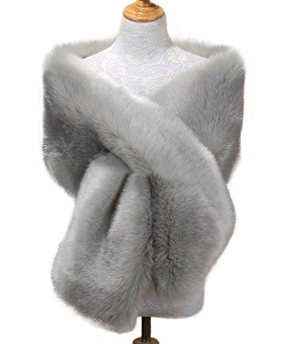 Fur Silver (Kevins Bridal Women's Faux Fur Shawl Wraps Cloak Coat Sweater Cape for Evening Party Silver)