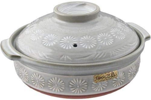 Japanese Hana Mishima Donabe Ceramic Hot Pot Casserole Banko Earthenware Clay Pot for Shabu Shabu Made In Japan