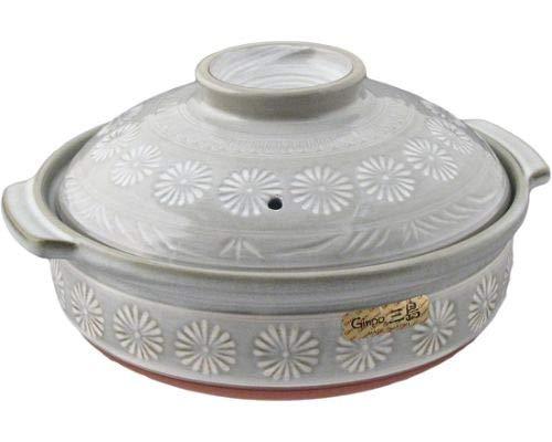 Japanese Hana Mishima Donabe Ceramic Hot Pot Casserole Banko Earthenware Clay Pot for Shabu Shabu Made In Japan (28 fl oz (7''D))