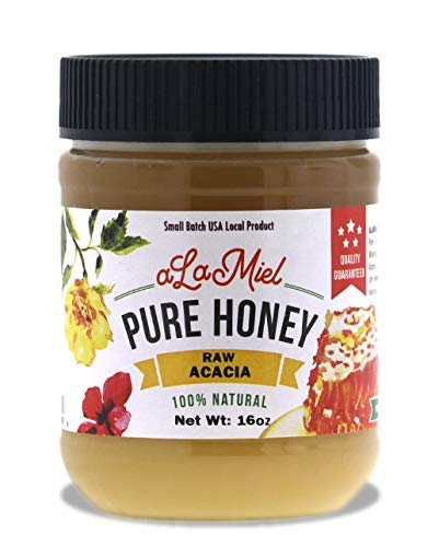 aLaMiel Raw Acacia Honey 100% Natural Local Pure Domestic Honey with Health Benefits Unheated, Unprocessed, Unfiltered Gluten Free | 1 lb Made in USA | 16 oz or 454 grams | Plastic Bottle