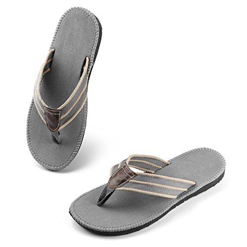 ... Aerusi Menns Gutter Fritid Flip Flops Tilfeldig Flette Stropp Thongs  Flatt Sommer Sandaler Slippers Sko Grå ...