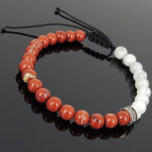6 Stone Cross - Men and Women Adjustable Braided Drawstring Bracelet Handmade with 6mm White Howlite, Red Jasper Stone and Genuine 925 Sterling Silver Cross Spacer