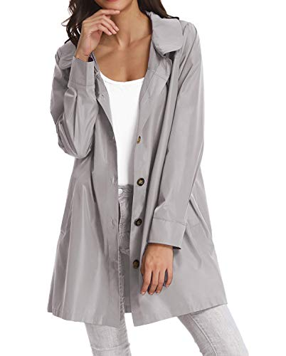 Women Casual Raincoats Active Outdoor Hooded Long Sleeve Rainproof Windproof Lightweight Jacket KK822-5 L Grey