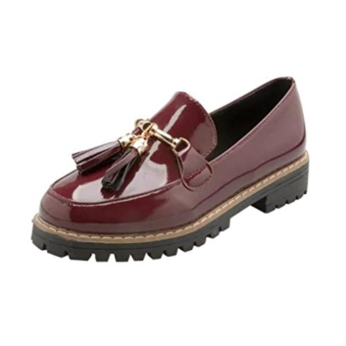 Binmer(TM) Womens Preppy Style Tassel Patent Leather Shoes Female Casual Shoes Red bGSUpzC