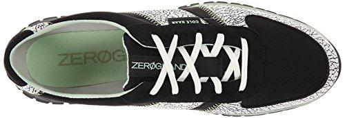 Cole Haan Dames Zerogrand Fashion Sneaker Zwart / Wit Craquelé