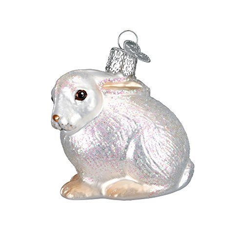 Old World Christmas Cottontail Bunny Glass Blown Ornament, White -
