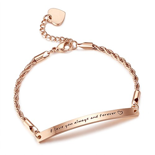 'I love you always and forever' Stainless Steel Bracelet, Gifts for her, wife, girlfriend, lover, mom, mother, grandma, sister, friend, anniversary, christmas days, new year gifts (forever-rose-gold)