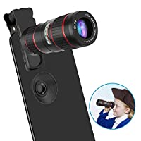 CLEECLI Phone Camera Lens 12x Zoom Telephoto Lens Kit 2 in 1 HD Dual Focus Monocular Compatible with iPhone Samsung Android and Most Smartphones