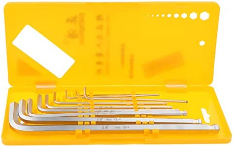 H HILABEE 9 ピース/個セットL字型アレンレンチメトリック六角キーW/ストレージケース - CRVスターキーロングアーム