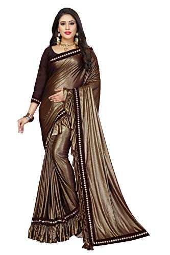 Magneitta Women's Imported Fabric Fancy Frill Ruffle Saree