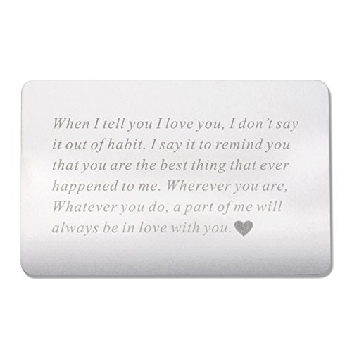 Vanfeis Engraved Metal Wallet Insert Card – Happy Birthday Gifts for Women, Men – Wedding Anniversary Gifts for Her, Him or Couple – Unique Engagement Gifts for Bride, Groom and Valentine's Day Gift