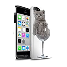 STUFF4 Gloss Tough Shock Proof Phone Case for Apple iPhone 4/4S / Wine Glass Design / Cute Kittens Collection