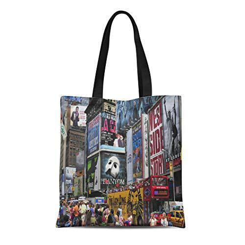 Semtomn Canvas Tote Bag Shoulder Bags Broadway New York City August 6 2010 Times Traffic Women's Handle Shoulder Tote Shopper ()