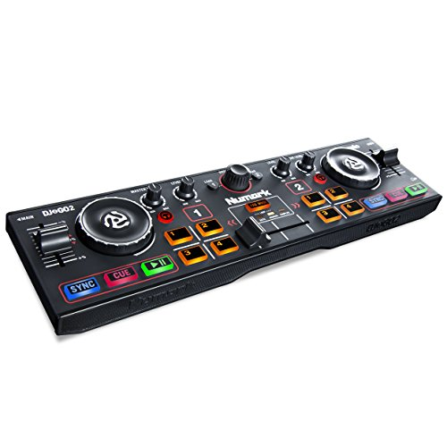Numark DJ2GO2 | Ultra Portable Two Channel DJ Controller for Serato DJ Intro Featuring A Built In Audio Interface With Headphone Cueing, Pad Performance Controls, Crossfader and Jogwheel (Best Beginner Dj Headphones)