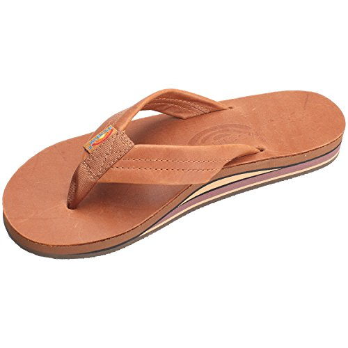 Rainbow Sandals Men's Premier Leather Double Layer with Arch Wide Strap, Classic Tan/Brown, Men's Large / 9.5-10.5 D(M) US ()