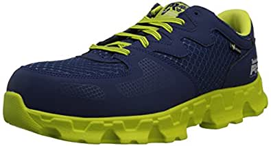 Timberland PRO Men's Powertrain Alloy Toe EH Industrial Shoe,Navy/High Vis Green Microfiber And Textile,7 M US