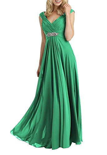 H.S.D Women's A Line V Neck Chiffon Mother of The Bride Dresses Green Alfred Angelo Mother Of The Bride