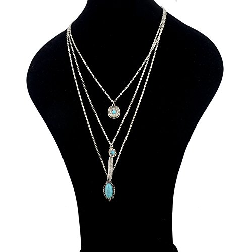 Long Way Vintage Multilayer Feather Flower Turquoise Pendant Necklace Long Coat Women's Chain (Antique Silver Plated) by Long Way (Image #5)