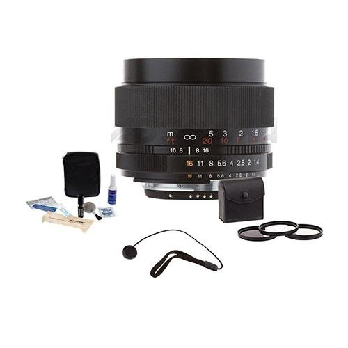 Voigtlander Nokton 58mm f/1.4 SL-II Manual Focus Lens for Nikon Film & Digital Cameras - Bundle - with Pro Optic 58mm Digital Essentials Filter Kit, Lens Cap Leash, Professional Lens Cleaning Kit