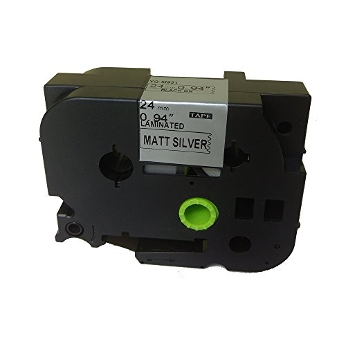 Black on Matte Silver Label Tape Compatible for Brother TZ TZe M951 TZ-M951 TZe-M951 24mm P-Touch 8m