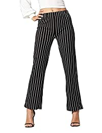 Conceited - Pantalón para Mujer (piernas Rectas, con Rayas, Cintura elástica, Ligero)