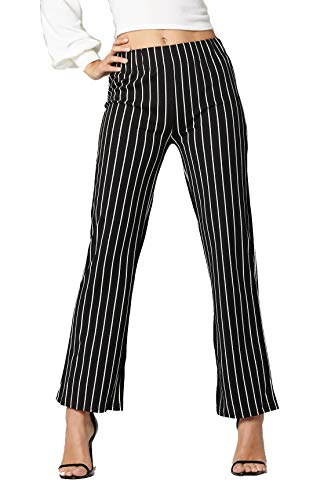 Conceited Women's Pants Casual Palazzo Straight Bootcut Striped Trousers - Elastic High Waist - Stripe Black - YC1726H-1-Black-SM ()