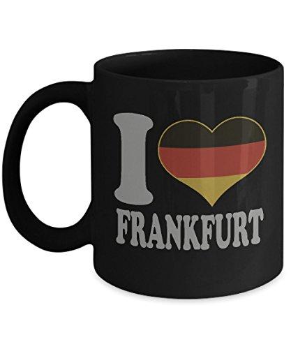 Frankfurt Germany Coffee Mug - 11oz Black Ceramic Tea Cup Country Flag. State Pride Novelty Holiday Christmas Gift Canes.