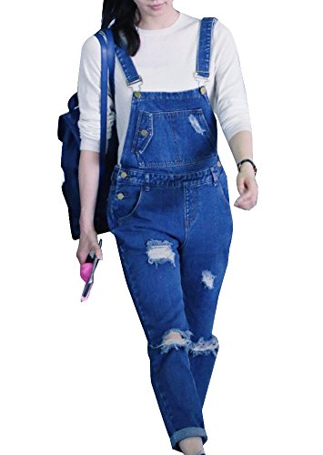 Pantalones GladiolusA Mezclilla Mono Petos Azul Slim Rasgados Mujer De Vaquero xrxYqw7p8