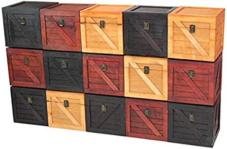 Light Brown Vintiquewise Wooden Stackable Lidded Crate