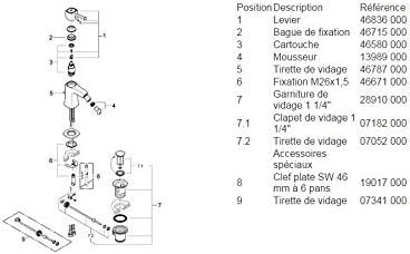 Grohe Grandera grifo bid/é 28mm 23315000 vaciador M color cromo Ref