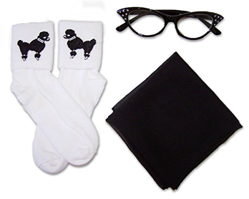 50s Costume Accessory Set Chiffon Scarf Cat Eye Glasses and Bobby Socks for Women Black