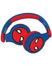 Lexibook HPBT010SP Spiderman 2-i-1 Bluetooth-hörlurar för barn stereo trådlös sladd, barnsäker för pojkar flickor, vikbar, justerbar, röd/blå