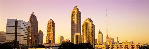 Walls 360 Peel & Stick City Skyline Wall Mural: Atlanta Sunrise (54 in x 18 in) ()