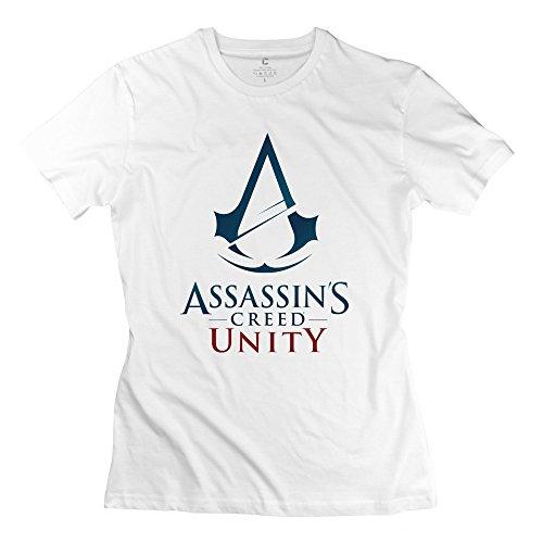 Women Assassins Creed Unity Logo Personalized Retro White T Shirt By Mjensen