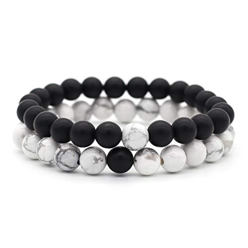 f3fdde1125 His & Hers Distance Bracelets Couple Natural Stone Beads Bracelet for  Friendship Relationship Black Agate &