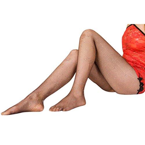 (Lavany Women's Sexy Stocking,High Waist Rhinestone Sparkle Fish Net Tight for Women (Coffee))
