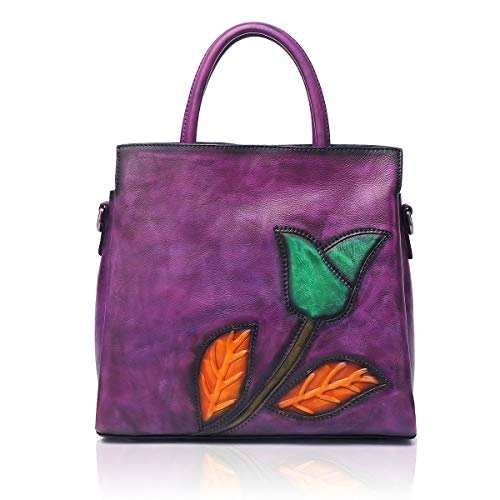 APHISON Designer Soft Leather Totes Handbags for Women, Ladies Satchels Shoulder Bags 8171 (purple)