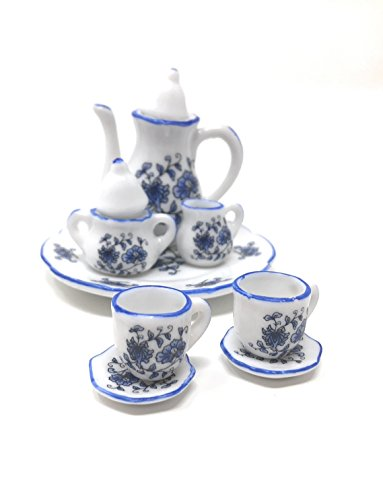 (Anny's 1:6 Scale 10 Piece Mini Dollhouse Size Rose Floral Tea Set with Teapot, Sugar, Creamer, Two Cups and Saucers, and Plate (White with Small Blue)