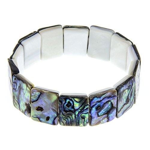 PammyJ Abalone Square Stretch Bracelet