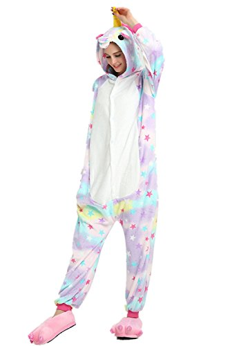 Teen Girls Halloween Costumes (Missley Flannel Animal Pyjamas Novelty Unicorn Nightwear Cosplay Costumes Halloween (S, Star))