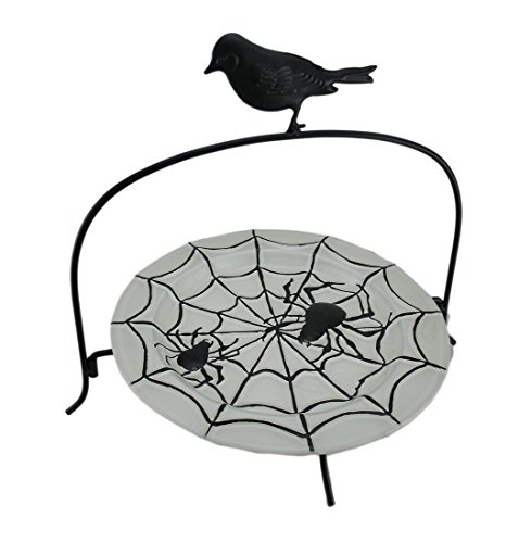 Metal Cake Stands Black Crow & Spiders Decorative Glass Dessert Stand 15.5 X 13 X 12 Inches Black Model # (Scary Halloween Fruit Platter)