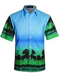 025e2fca948 Men s Hawaiian Shirt Short Sleeve 4 Way Stretch Beach Party Aloha Shirts