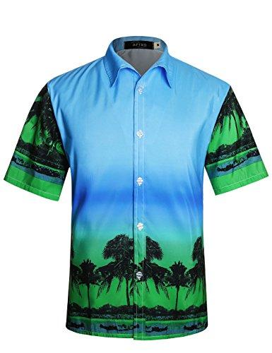 New Xxl Aloha Hawaiian Shirt (APTRO Men's Hawaiian Shirt Short Sleeve Aloha Shirts Green Shirt DZHF HWS001 XXL)