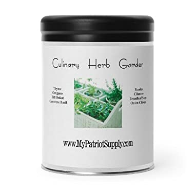 Culinary Herb Garden – 8 Easy-to-Grow Varieties, 100% Heirloom, Open-Pollinated Non-GMO Kitchen Herb Seeds in a Sturdy Storage Can