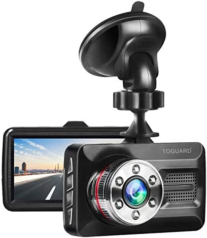 TOGUARD Dash Cam 6 LEDs Night Vision Car Camera 1080P FHD DVR Dash Camera for Cars, 3 Screen 170 Wide Angle, Parking Monitor, G-Sensor, WDR, Motion Detection