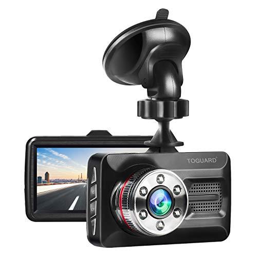 TOGUARD Dash Cam 6 LEDs Night Vision Car Camera 1080P FHD DVR Dash Camera for Cars, 3 Screen 170° Wide Angle, Parking Monitor, G-Sensor, WDR, Motion Detection