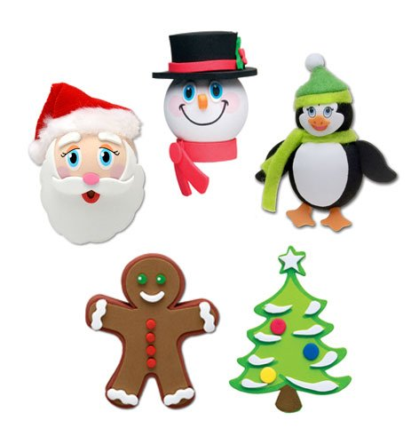 Tenna Tops 5 pcs Pack - Christmas Holiday Car Antenna Toppers/Antenna Balls/Rear View Mirror Danglers (Santa, Frosty, Penguin, Gingerbread, Christmas Tree) Auto Accessories