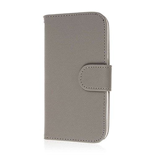 MPERO Motorola Moto G (2nd Gen) / Moto G EXT Wallet Case, [Flex Flip] Cover with Card Slots and Wrist Strap (Gray)